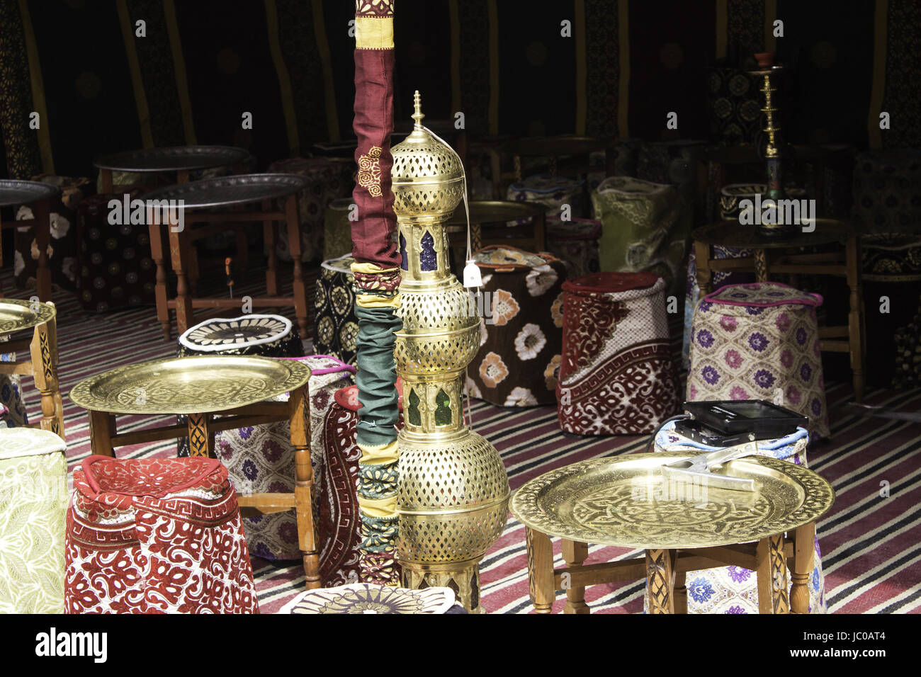 Seats Moroccan teahouse in event, arabic tourism, te Stock Photo