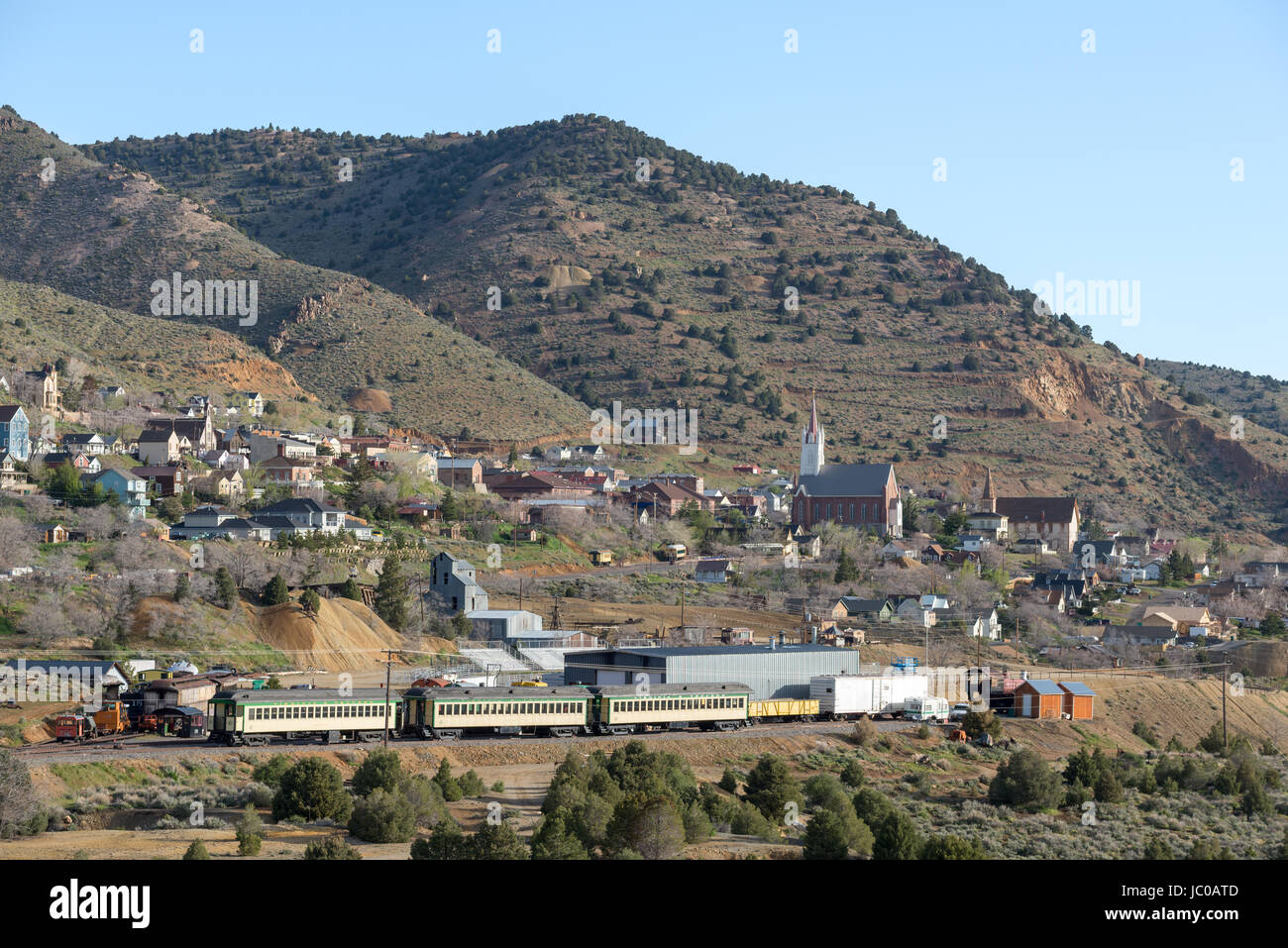Virginia and Truckee Railroad yard and the historic mining town of Virginia City, Nevada. - Stock Image