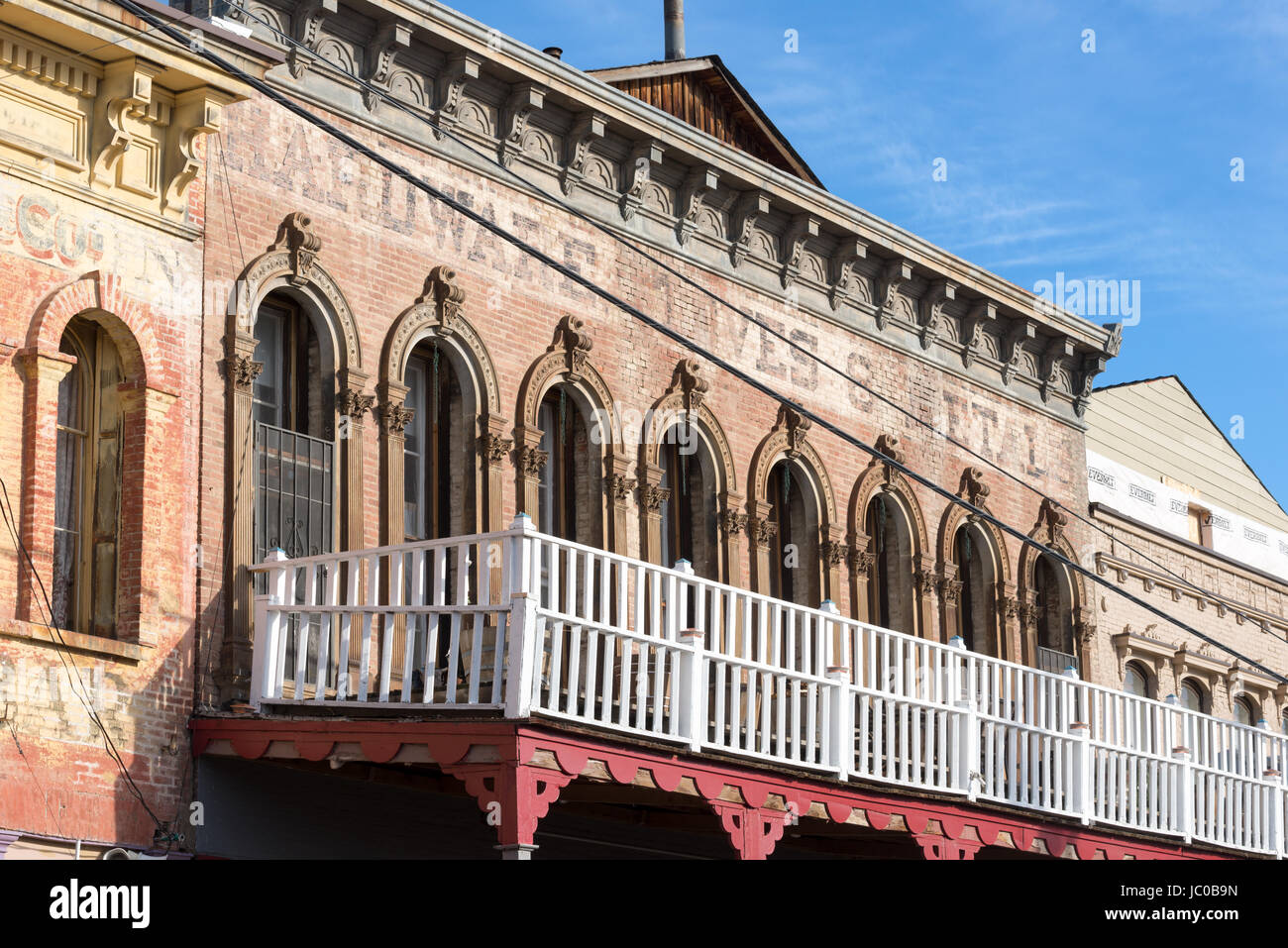 Second story of an old building in the historic mining town of Virginia City, Nevada. - Stock Image