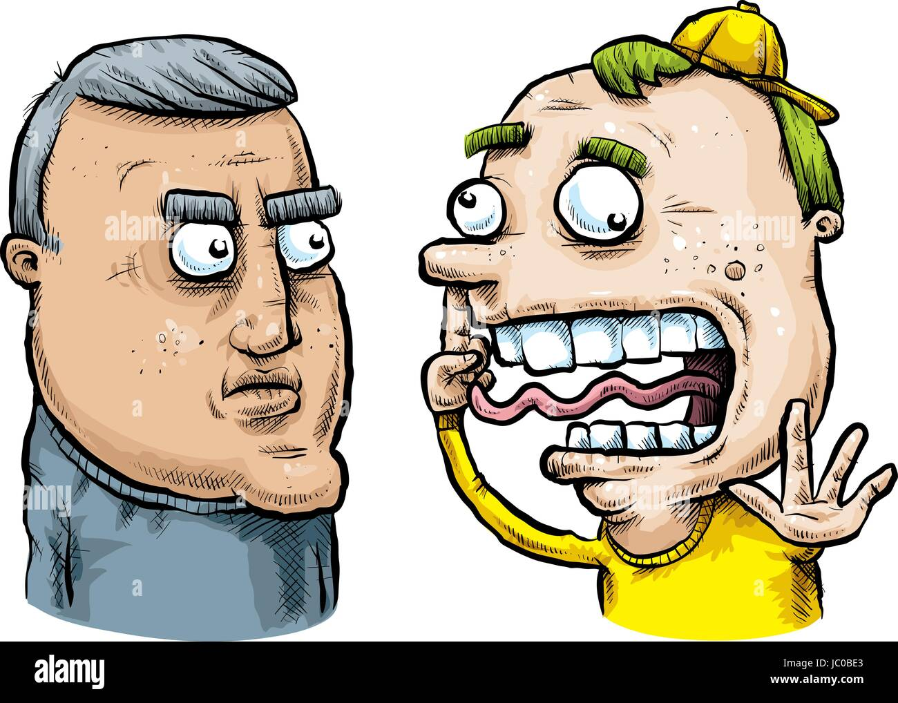 A serious, middle aged cartoon man does not understand the goofy, younger man. - Stock Vector