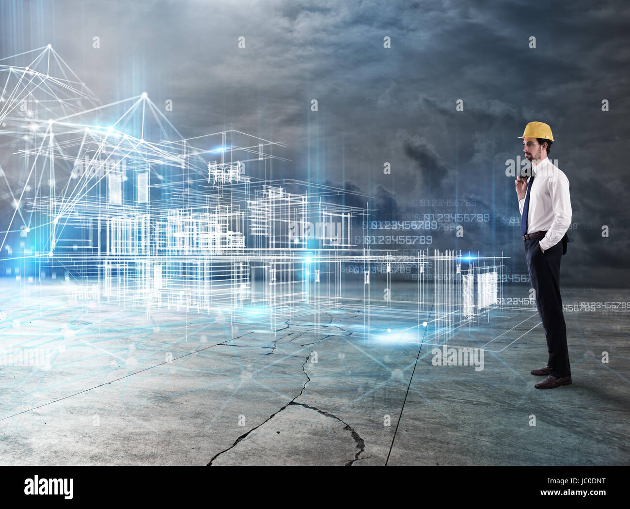 Businessman Architect analyzes a project of a building - Stock Image