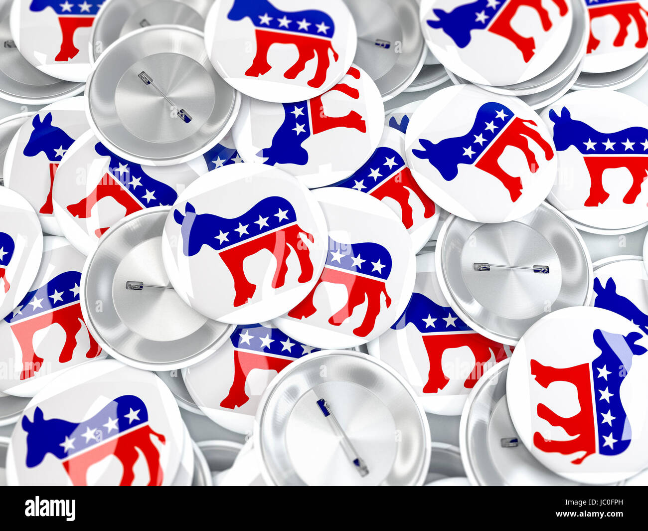 Pile Of Button Badges With Donkey Symbol Of Us Democratic Party