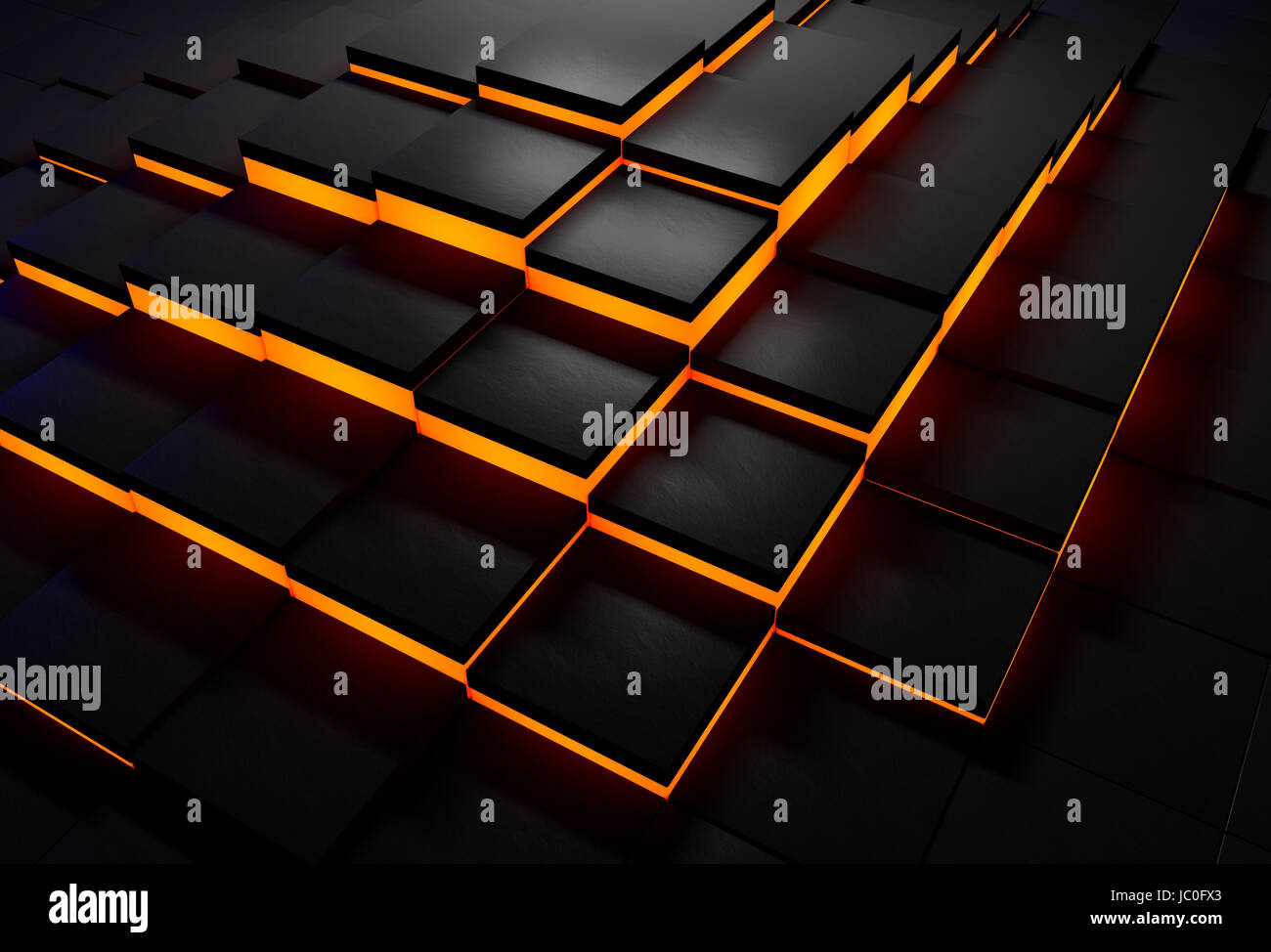 Abstract Background Of Black Tiles With Glowing Orange Edges