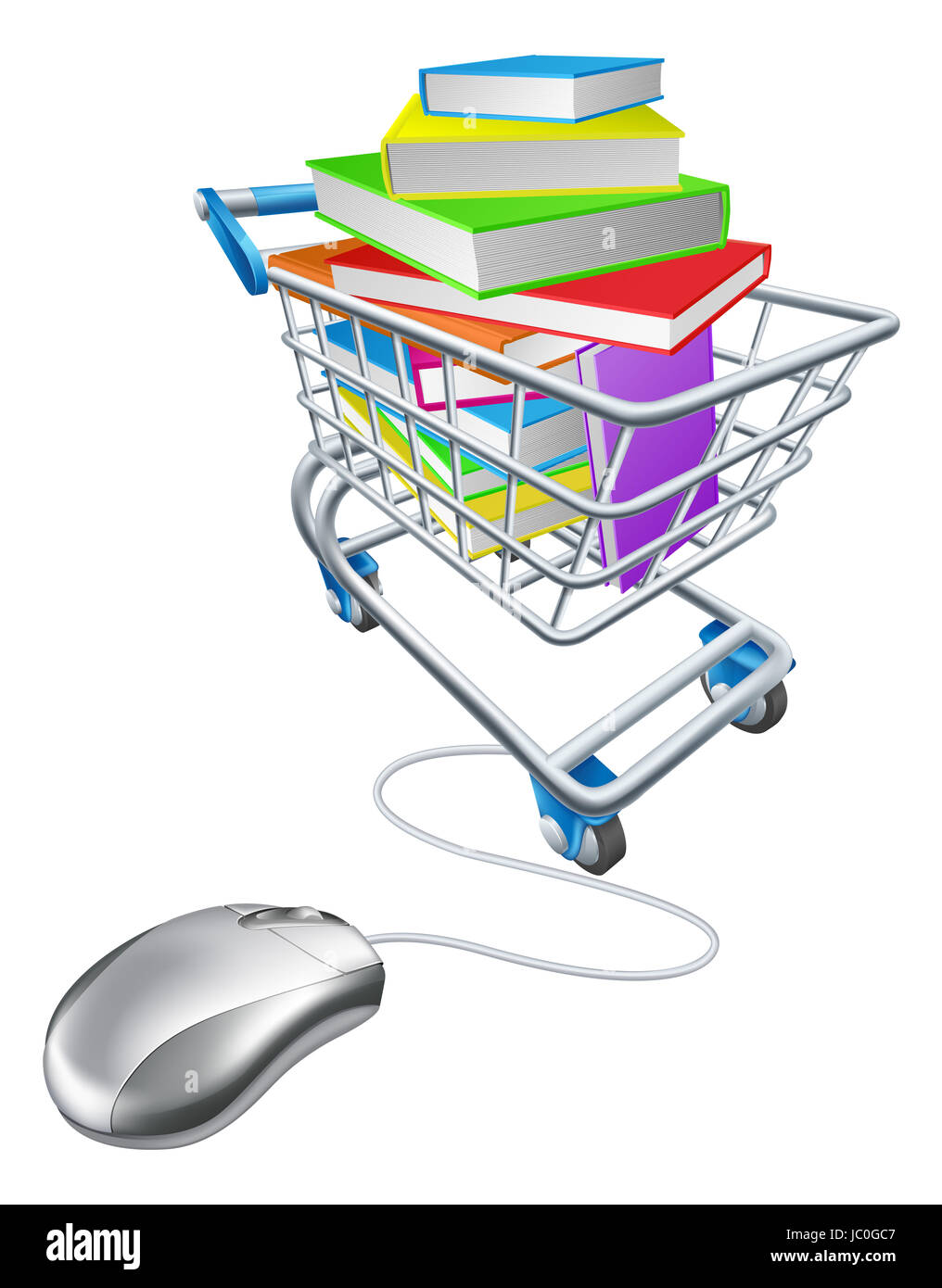 e93c828058a Online education or internet book shopping concept of a computer mouse  connected to a shopping cart or trolley full of books