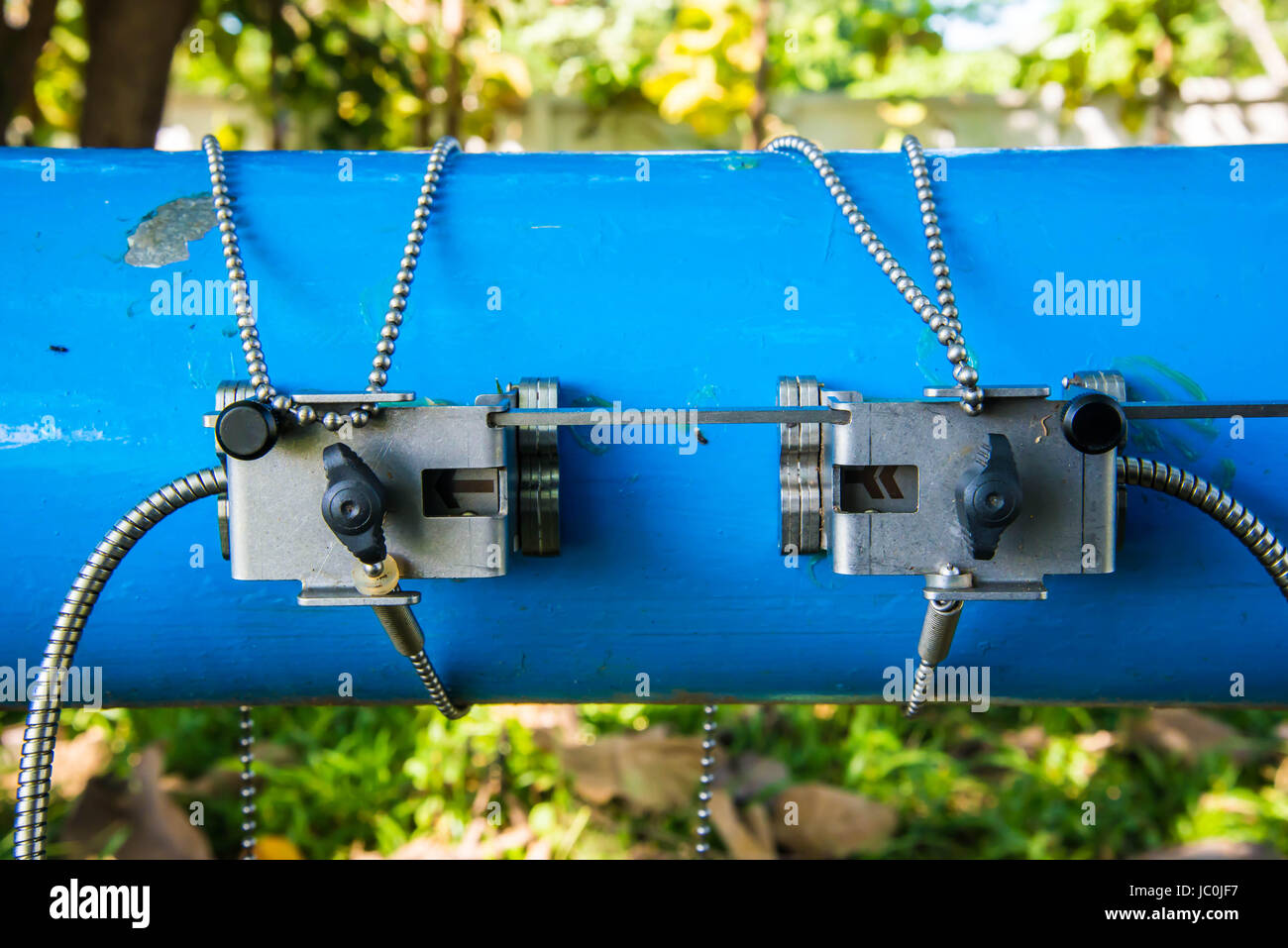 Ultrasonic flow meter for measure rate of water flow. - Stock Image