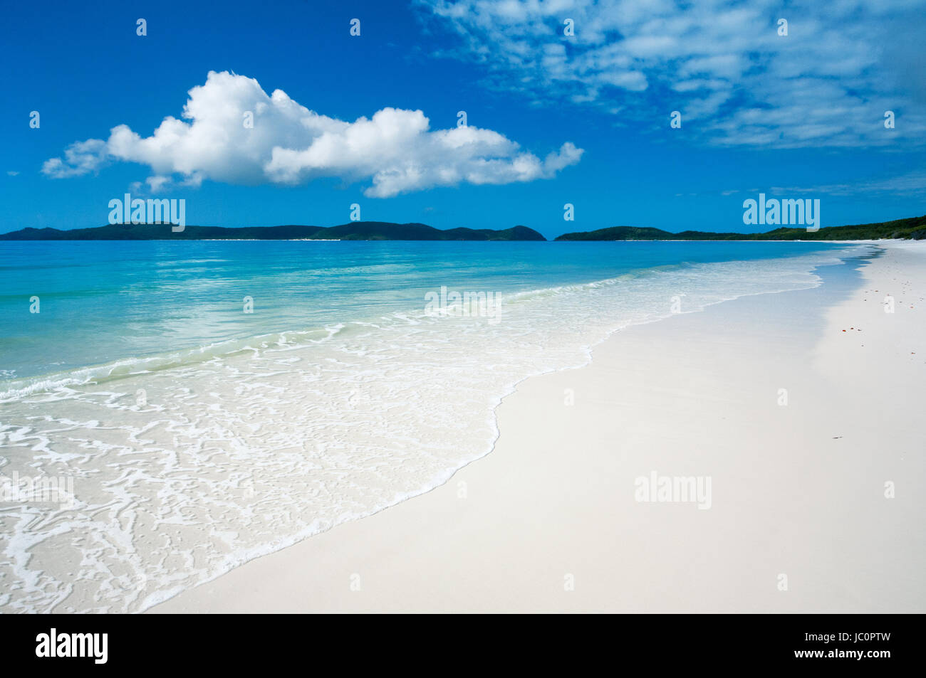 Famous Whitehaven Beach on Whitsunday Island. - Stock Image