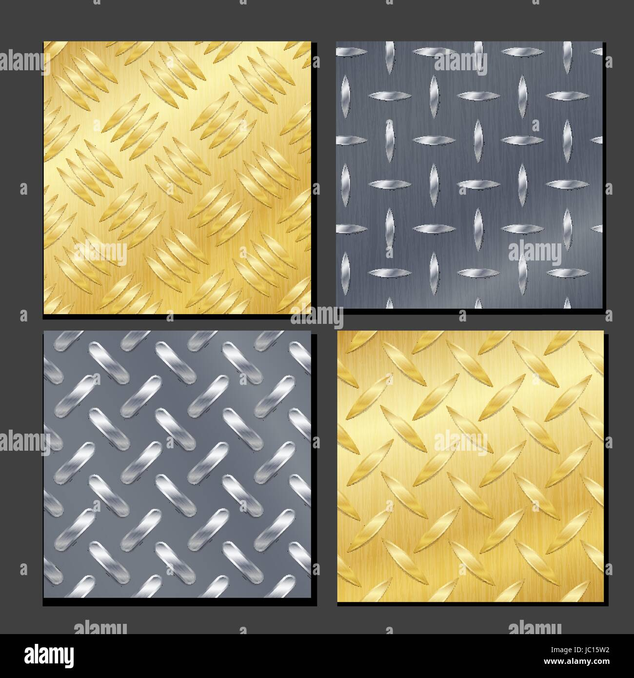 Seamless Diamond Metal Background Set With Tread Plate. Gold, Chrome, Silver, Steel, Aluminum. Vector Pattern - Stock Vector