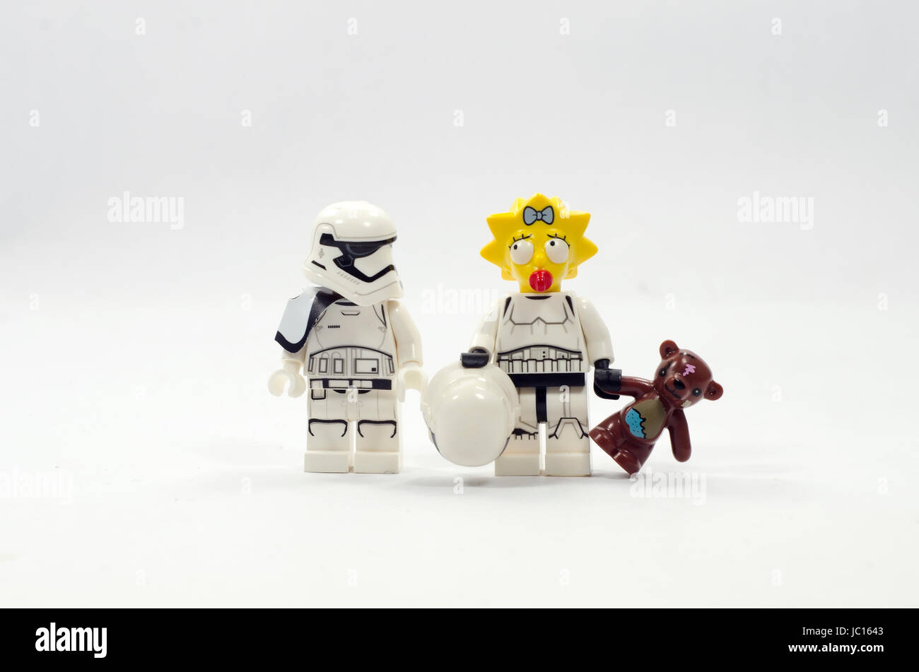 Lego minifigures maggie simpsons wearing stromtrooper uniform - Stock Image