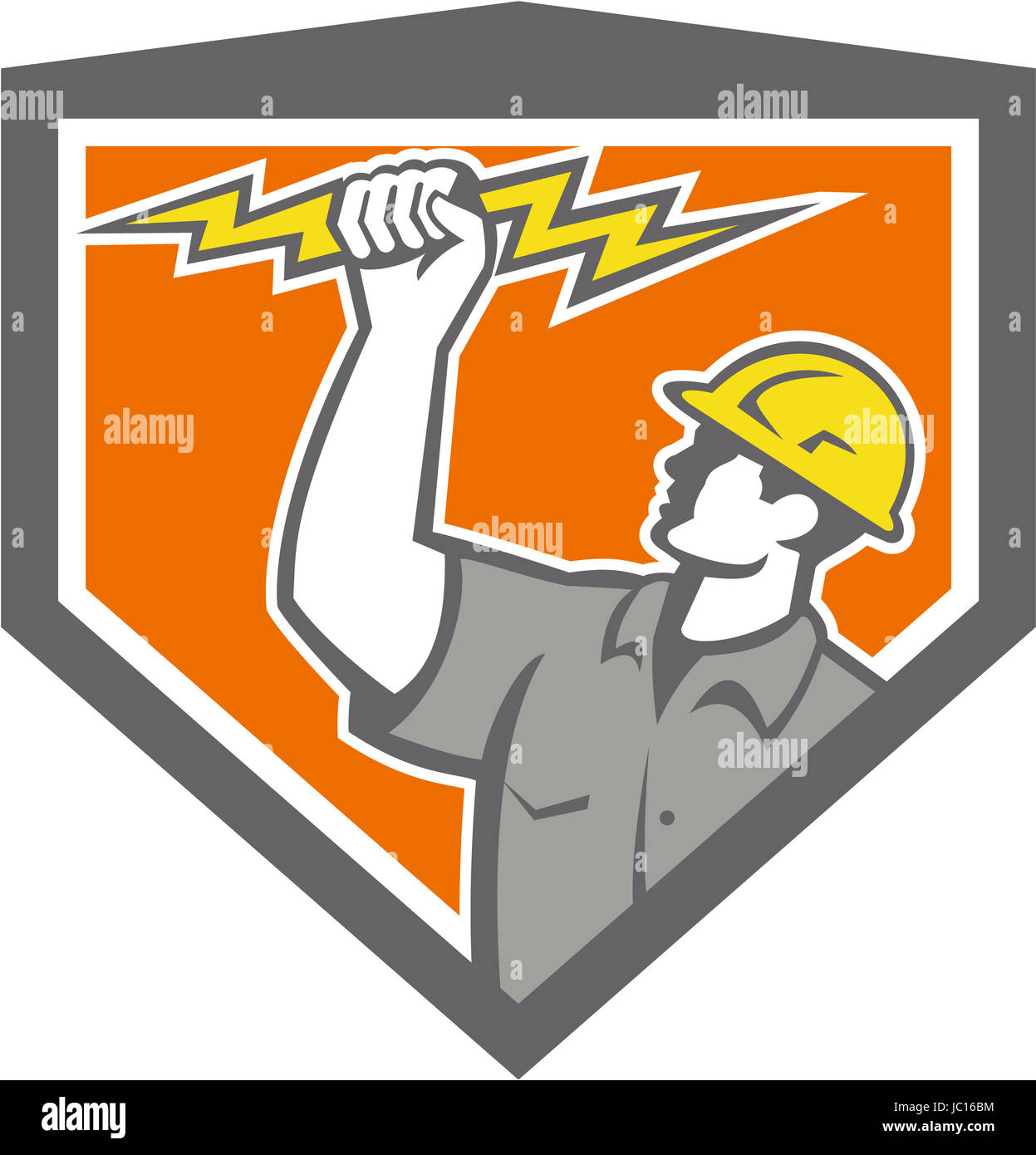 Illustration of an electrician construction worker wield holding a lightning bolt set inside shield crest done in - Stock Image