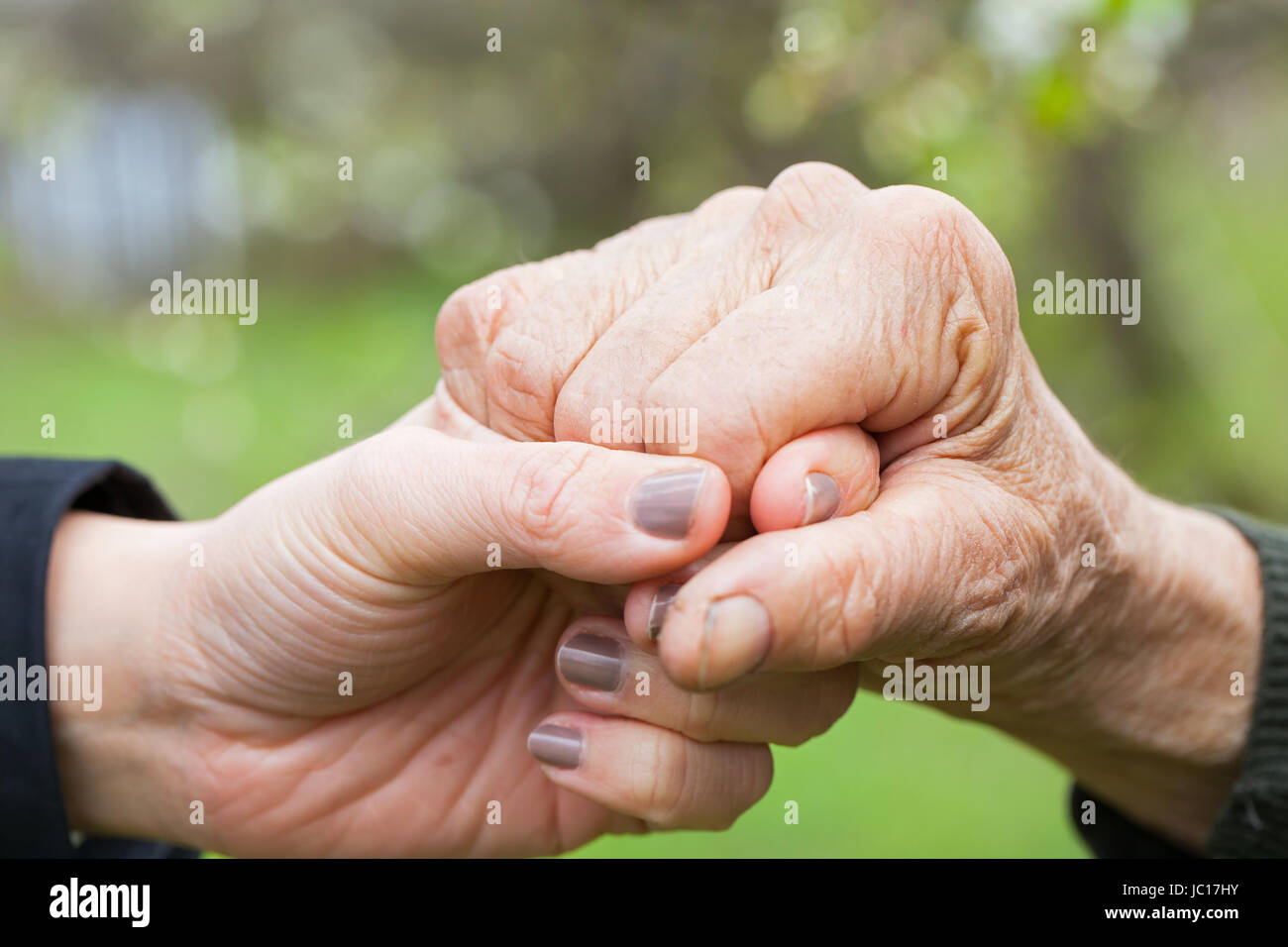 Close up picture of a young woman's hands holding an elderly female's hands - Stock Image