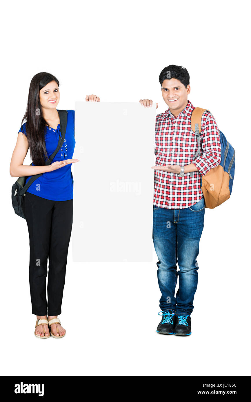 Boy Girl College Friend Student Showing Whiteboard - Stock Image