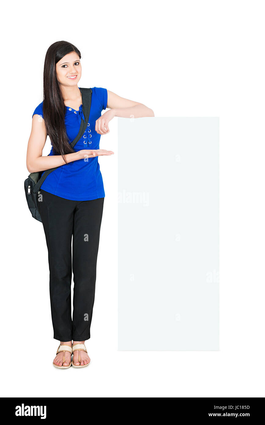 Teenage College Girl Student Showing Message Board - Stock Image