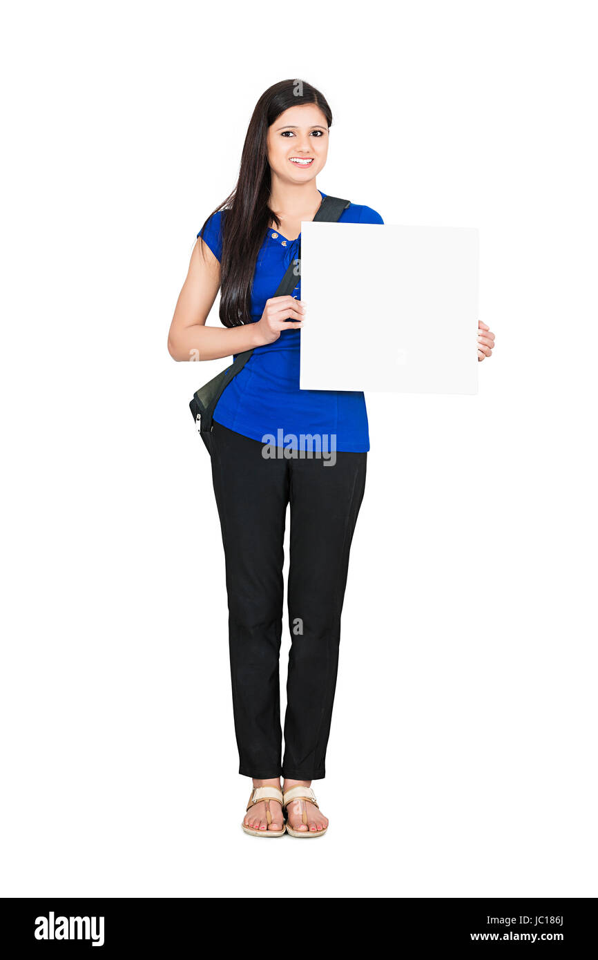 Young Woman College Student Holding White Board - Stock Image