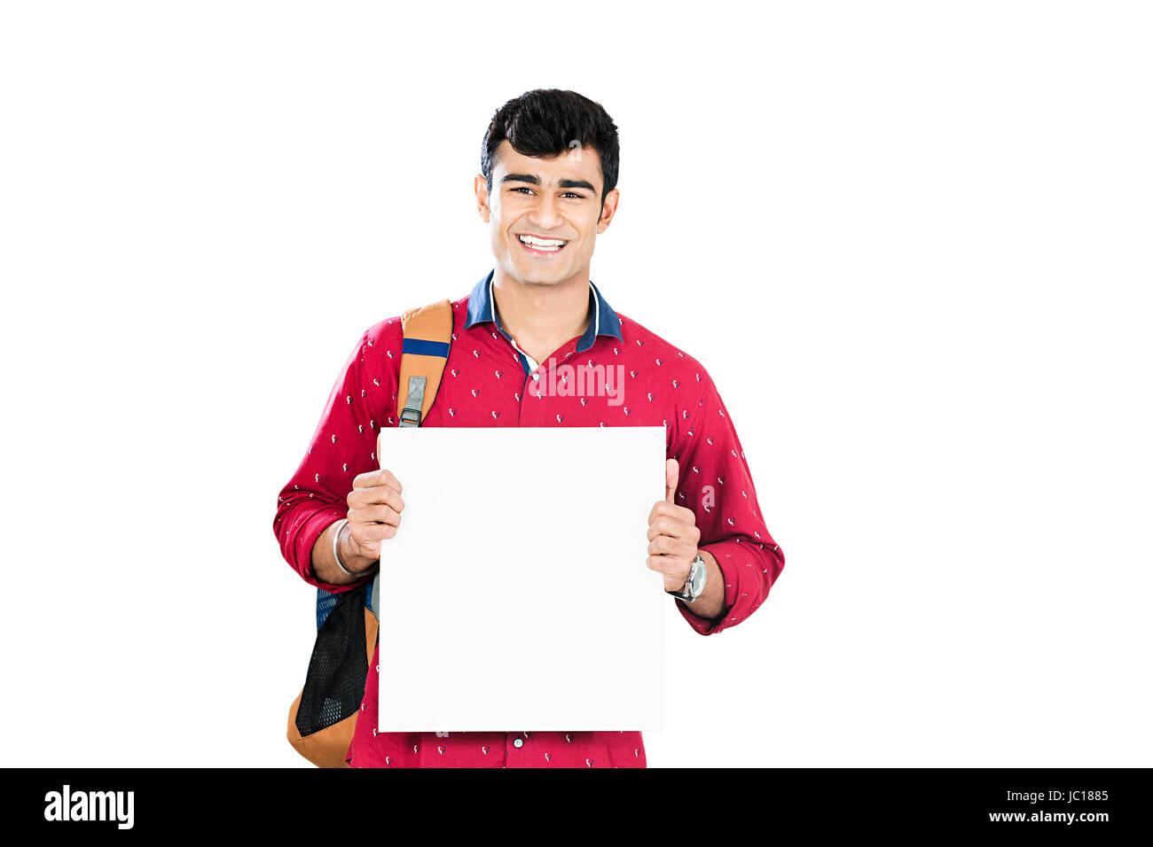 Indian Young man College Student Holding Whiteboard - Stock Image