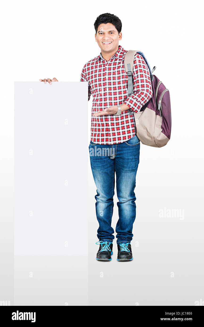 Young College Man Student Showing White Board - Stock Image