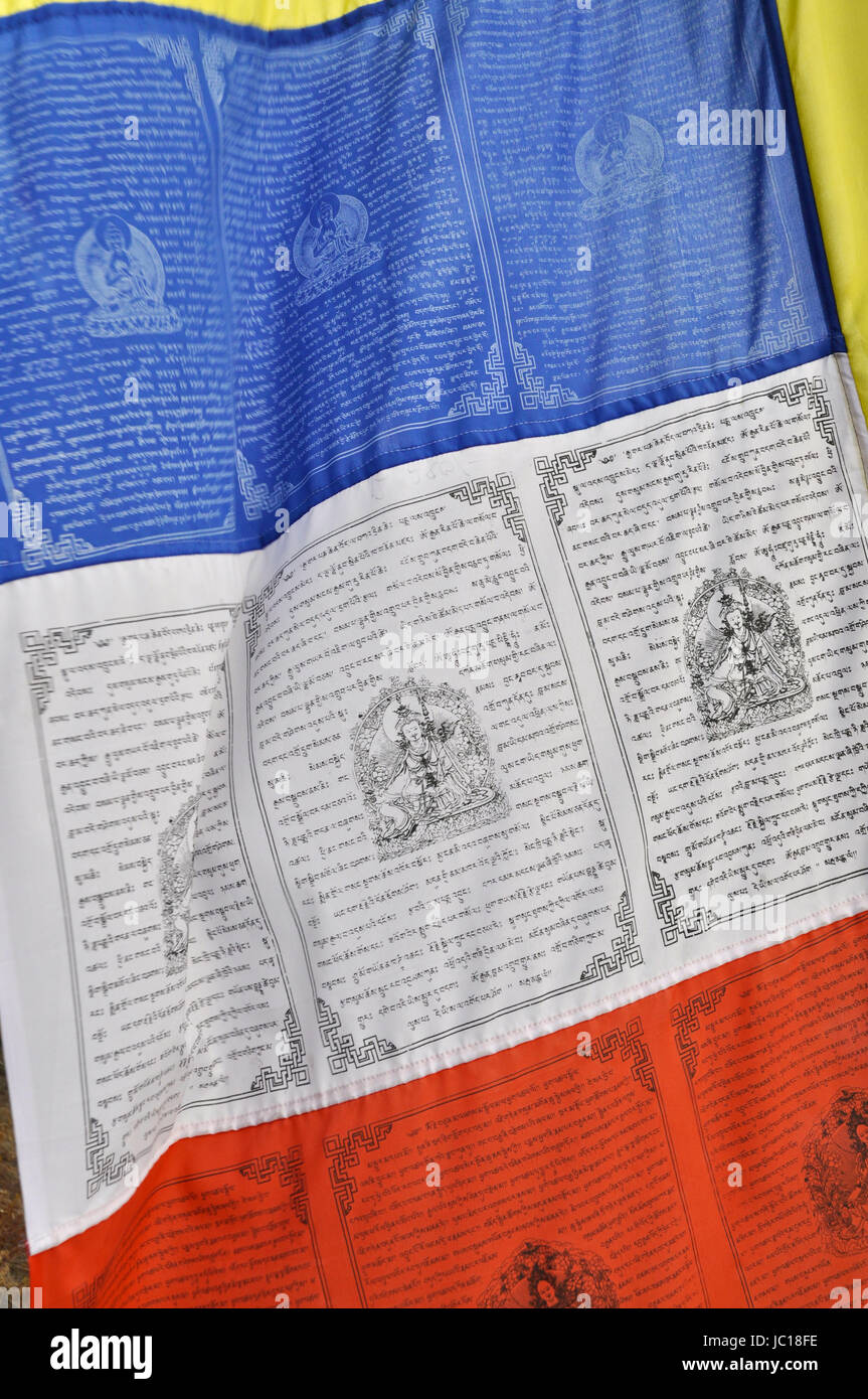 Close-up view of a Buddhist flag with sacred writing, Keylong - Stock Image