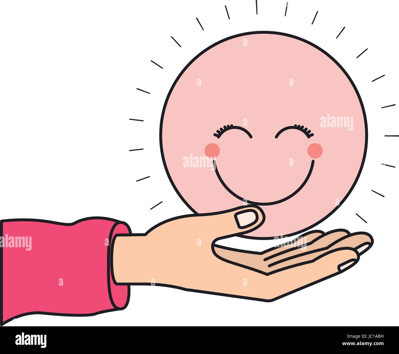colorful silhouette hand palm giving a pink happy face smiling - Stock Vector