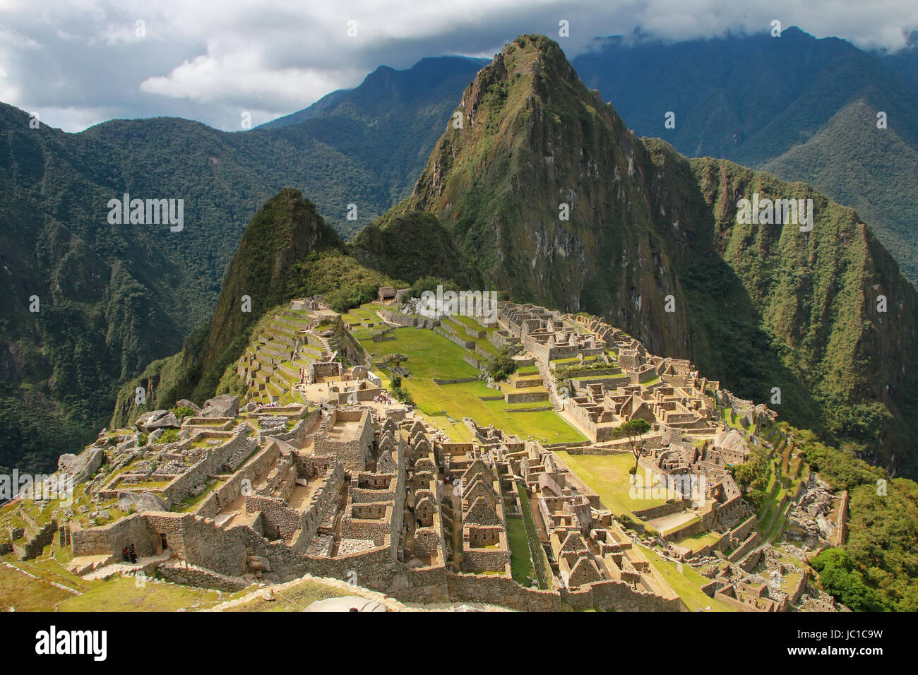 Inca citadel Machu Picchu in Peru. In 2007 Machu Picchu was voted one of the New Seven Wonders of the World. - Stock Image