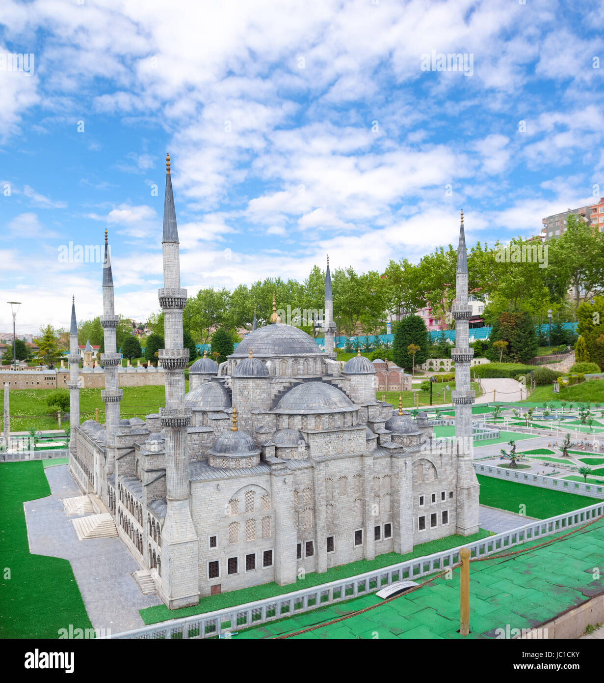 Miniaturk park in istanbul, the largest miniature park in the world. The park contains 105 buildings, each replicated - Stock Image
