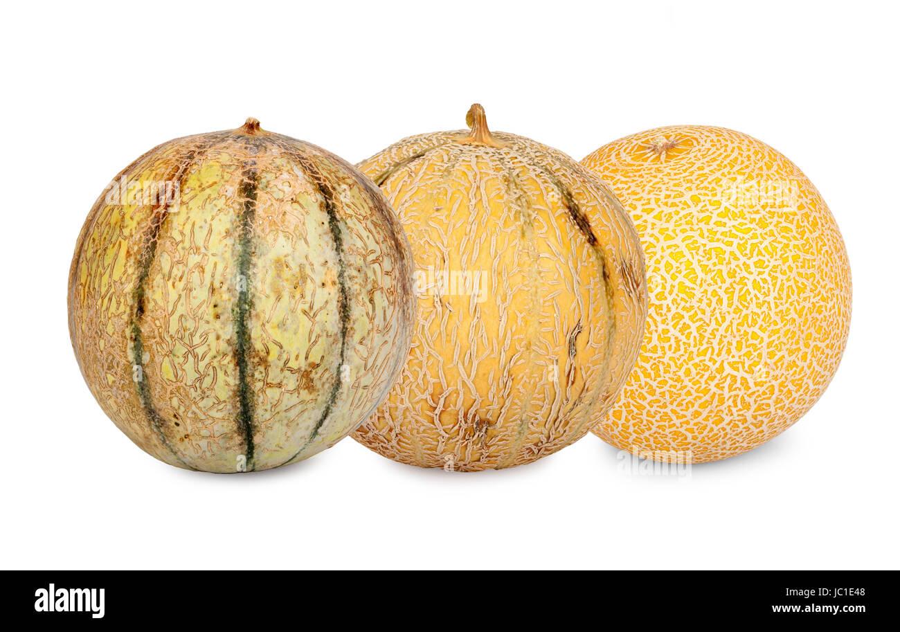 Drei verschiedene Galiamelonen isoliert vor weißem Hintergrund Stock Photo