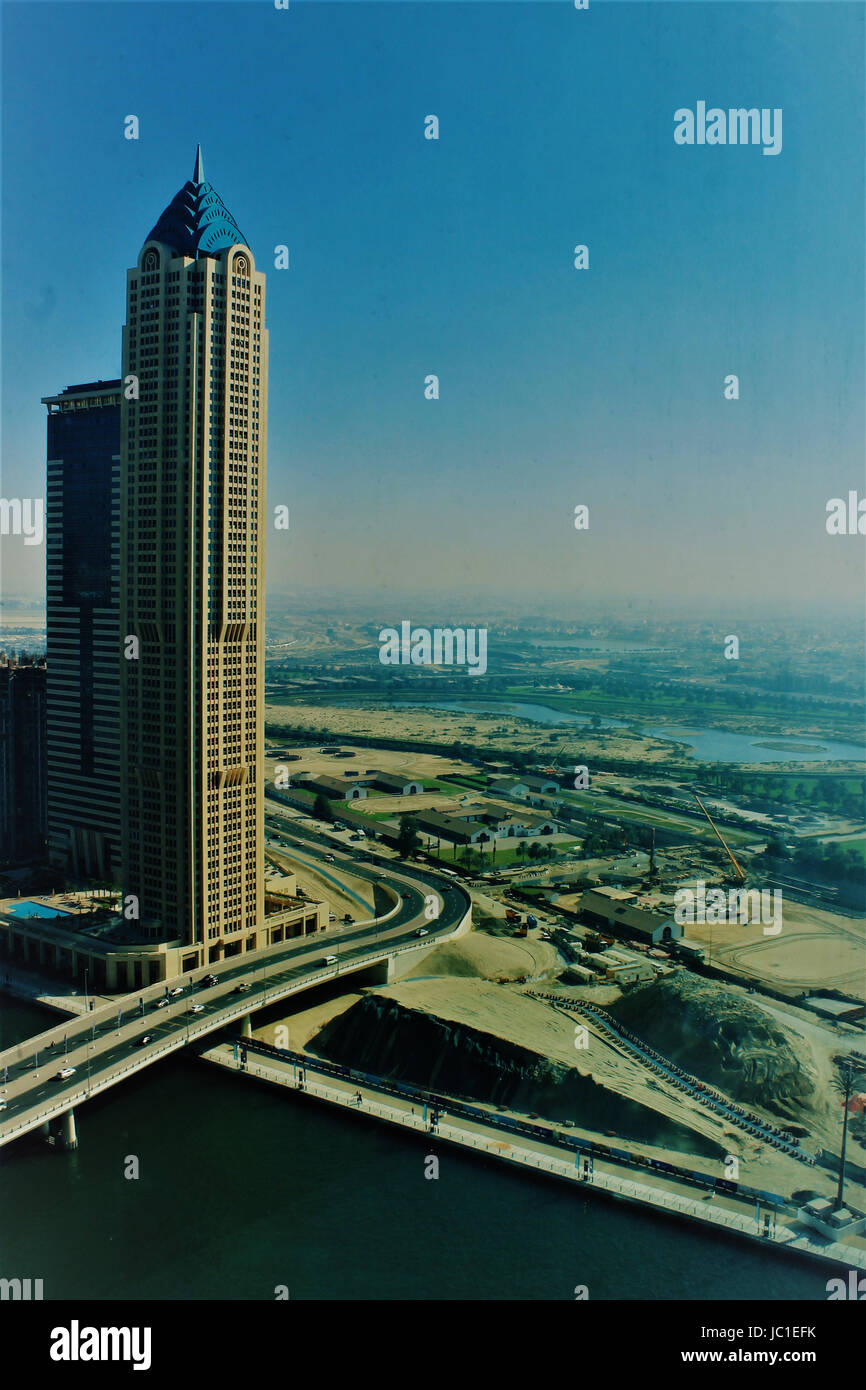 Sky-scraper along flyovers - areal view from Business Bay, Dubai Stock Photo