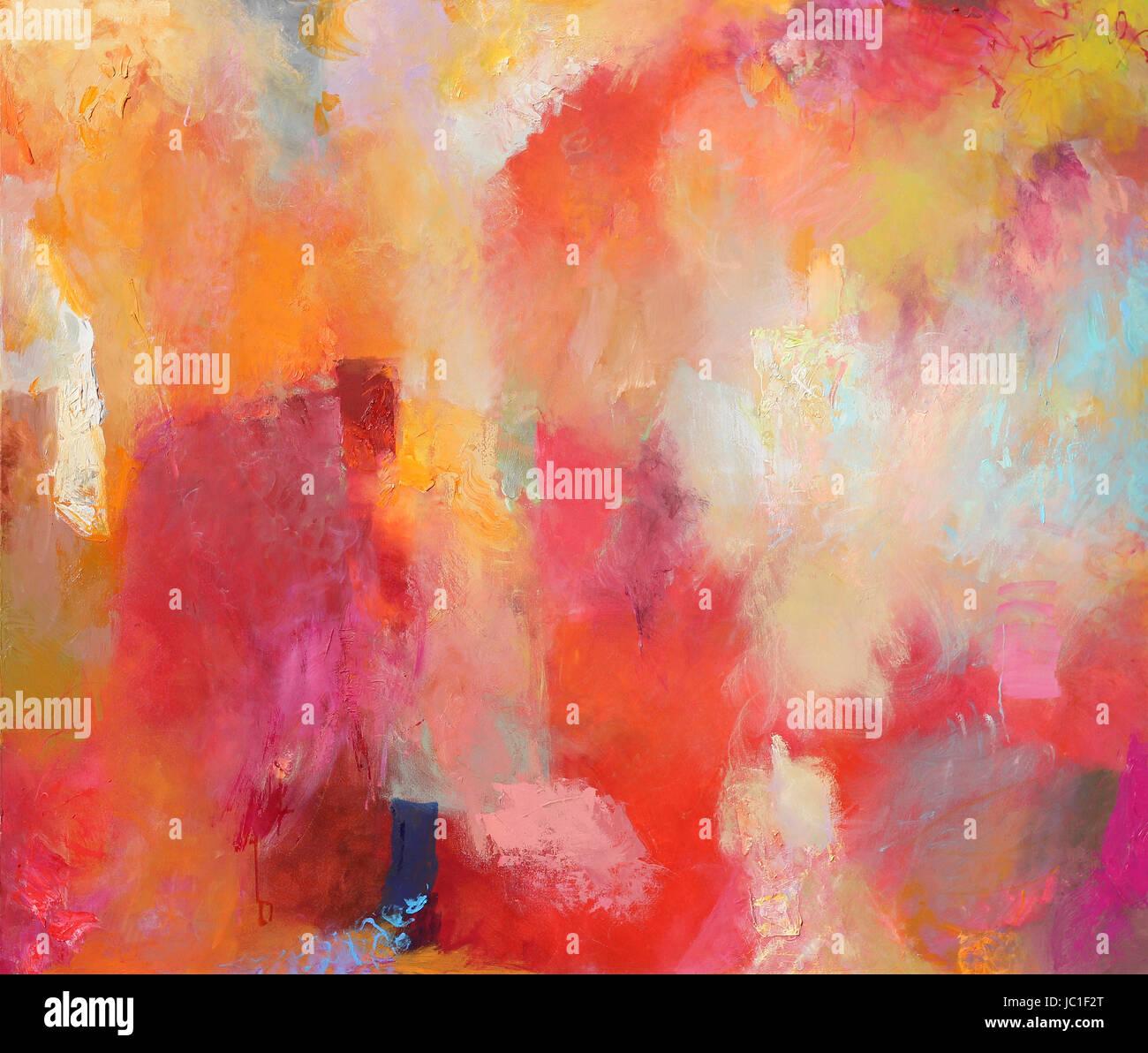 abstract art - hand painted canvas - malerei mischtechnik bunt - Stock Image