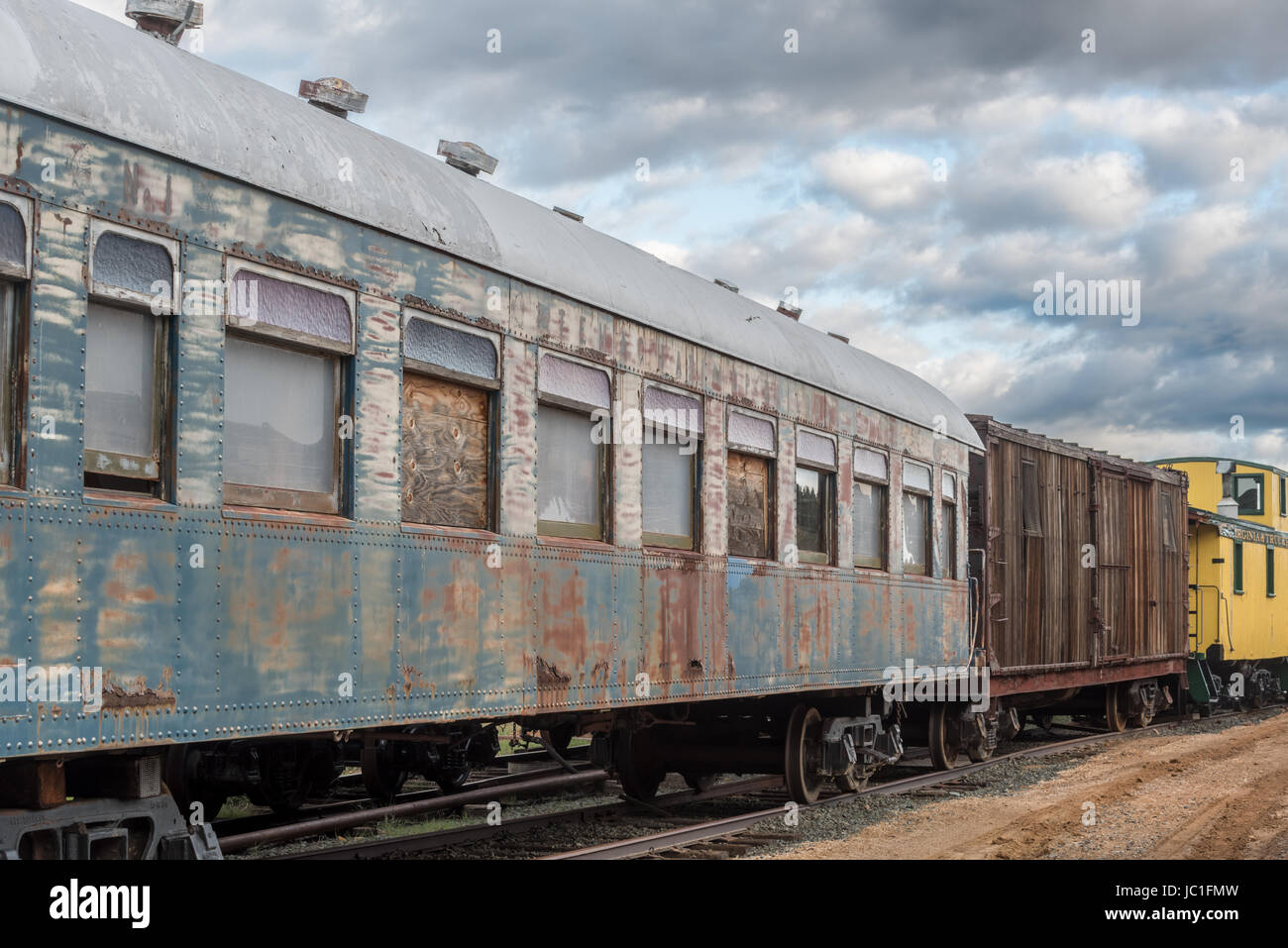 Vintage rail cars in the yard of the Virginia and Truckee Railroad in the historic mining town of Virginia City, - Stock Image