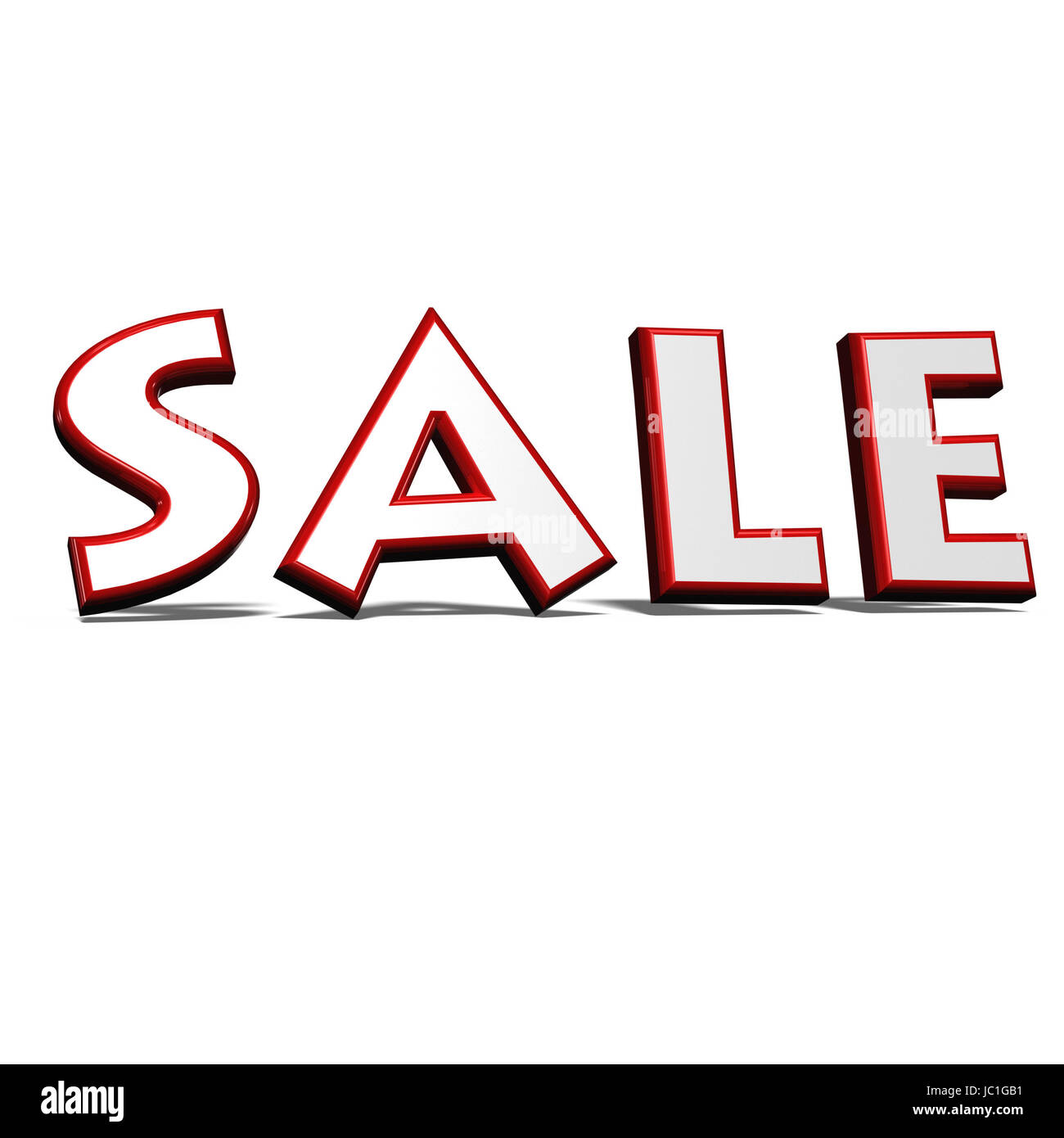 glossy red three-dimensional inscription sale Stock Photo