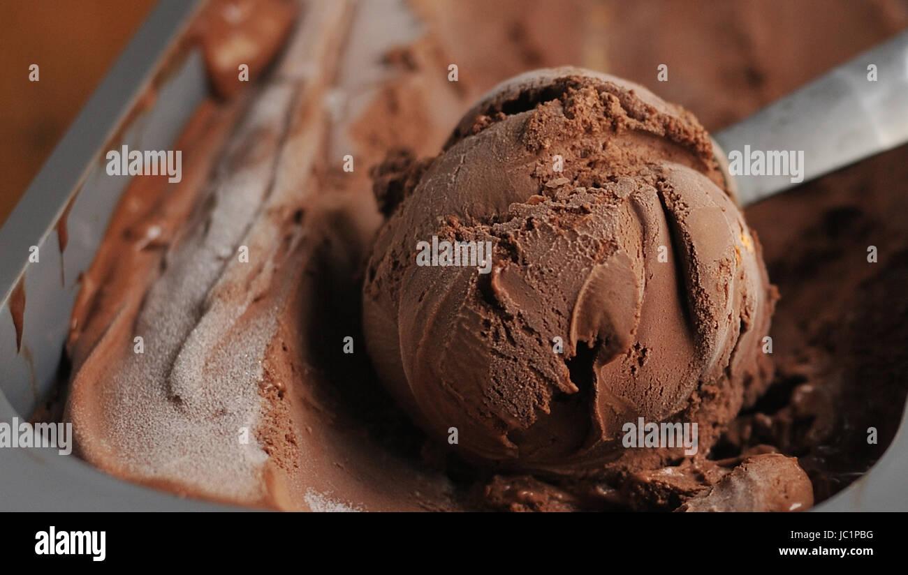Homemade Chocolate ice cream scoop - Stock Image