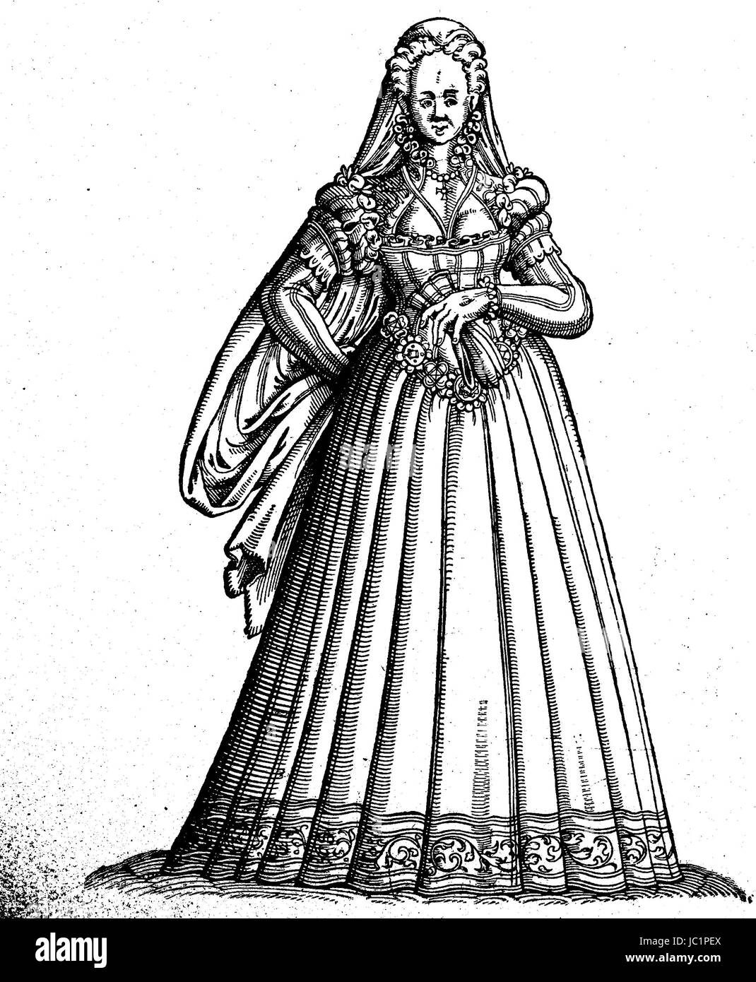 Costume of the young women at Rome, costume picture from the 16th century, digital improved reproduction from a - Stock Image