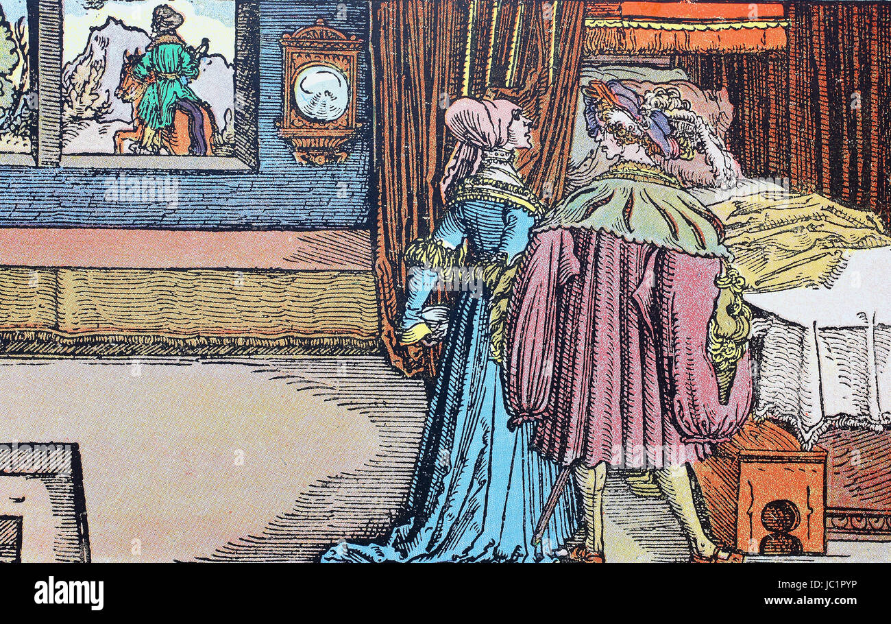 Woman after adultery. From the consolation mirror of Hans Weiditz, digital improved reproduction from a publication - Stock Image