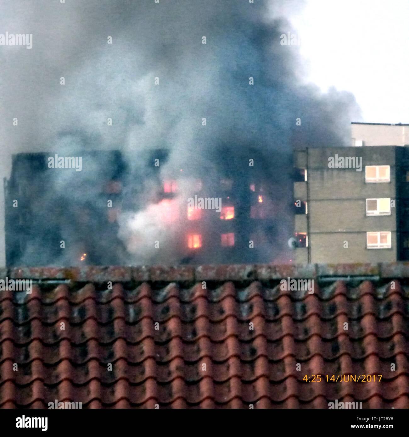 London, UK. 14th June, 2017. Screams heard as huge fire engulfs Residential West London Tower Block Credit: Kevin - Stock Image