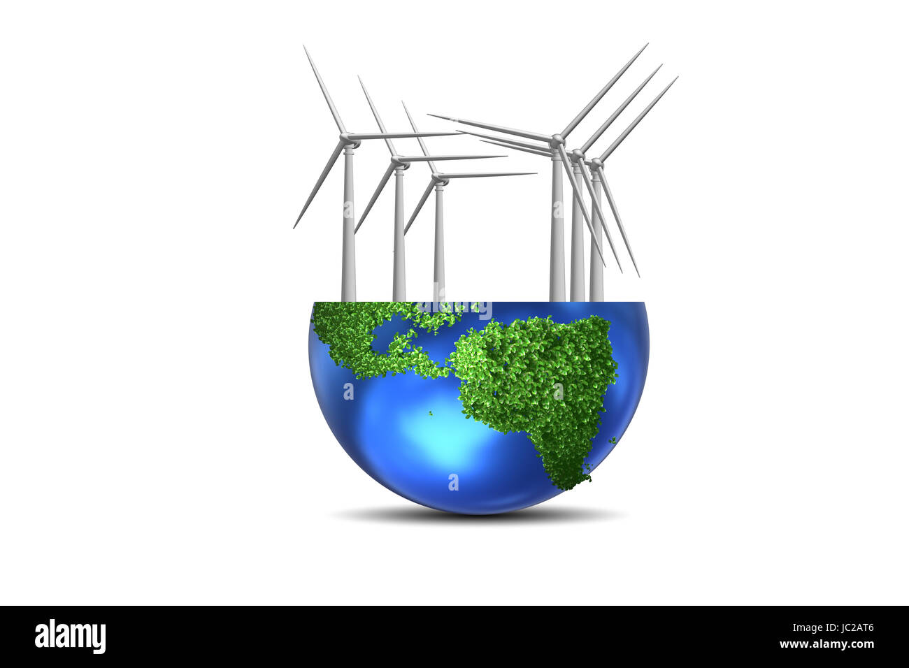 Concept of alternative energy with windmills - 3d rendering - Stock Image