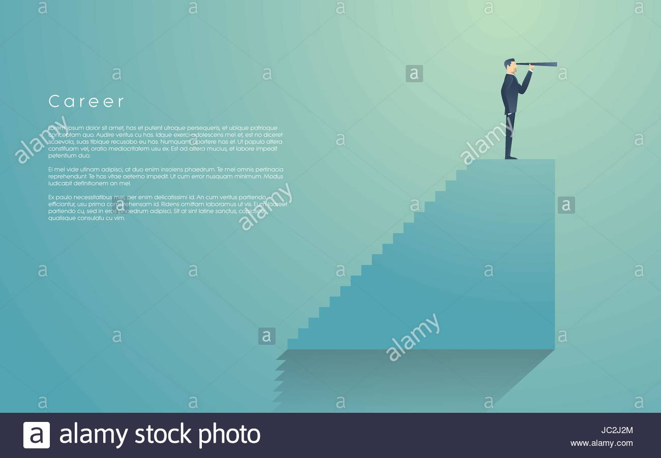 Businessman With Monocular On Top Of Stairs As A Symbol Of Business