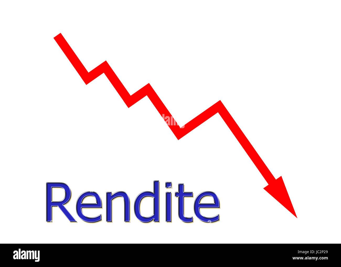 rotes Diagramm abwärts Rendite Stock Photo