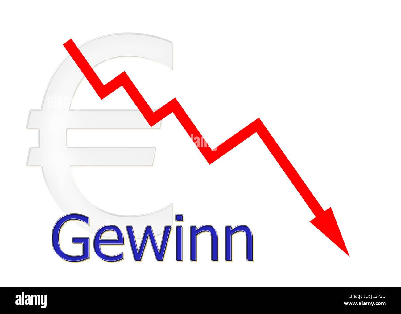 rotes Diagramm abwärts Gewinn mit Euro Symbol Stock Photo