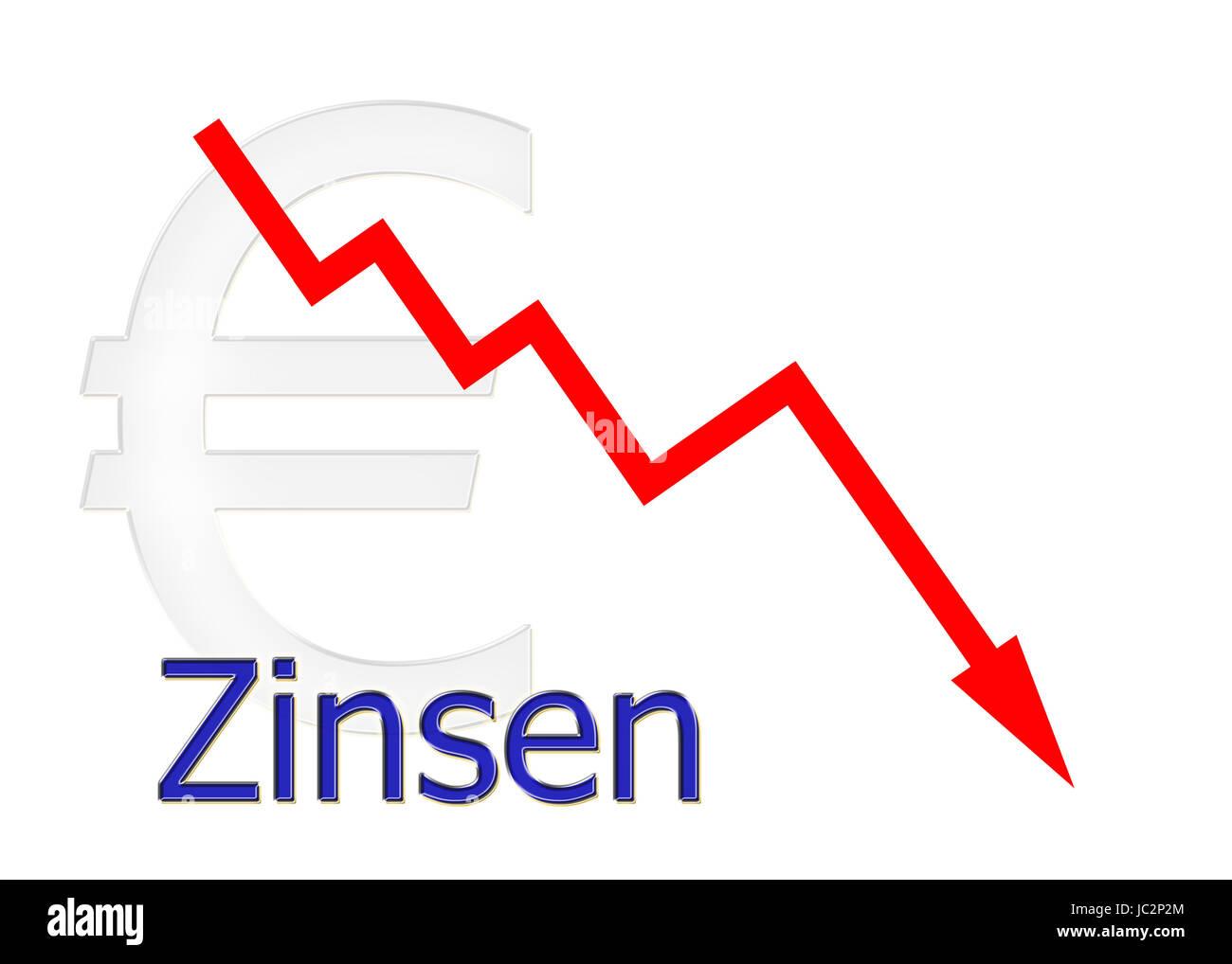 rotes Diagramm abwärts Zinsen mit Euro Symbol Stock Photo