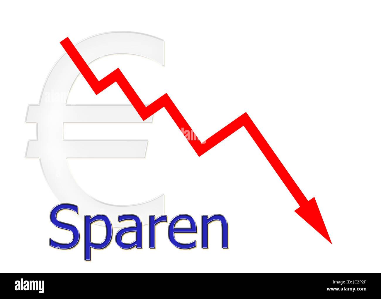 rotes Diagramm abwärts Sparen mit Euro Symbol Stock Photo