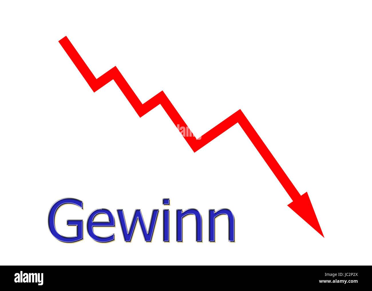 rotes Diagramm abwärts Gewinn Stock Photo