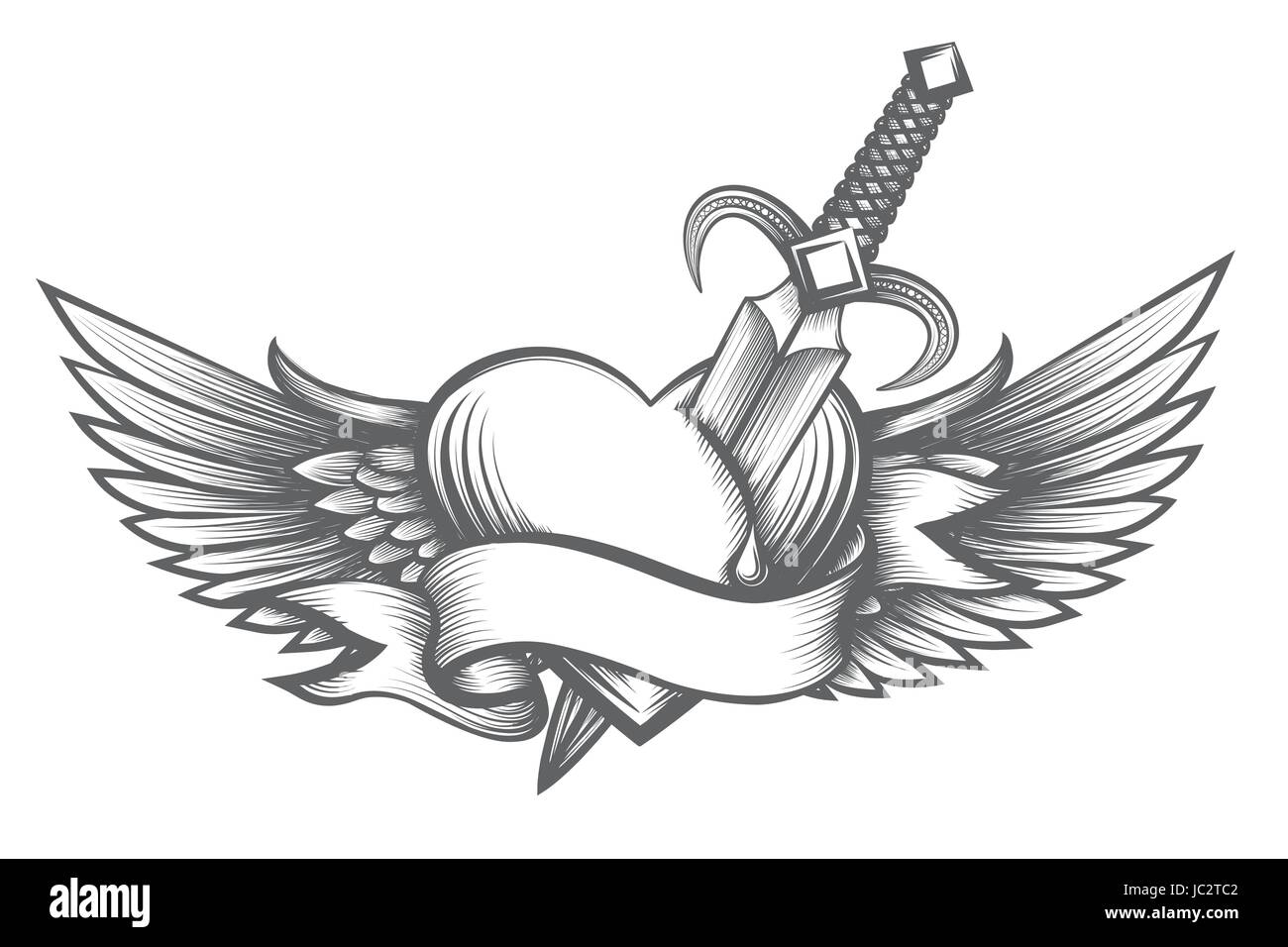 Heart with wings pierced by dagger and ribbon with place for your text. Vector illustration in tattoo style. - Stock Vector