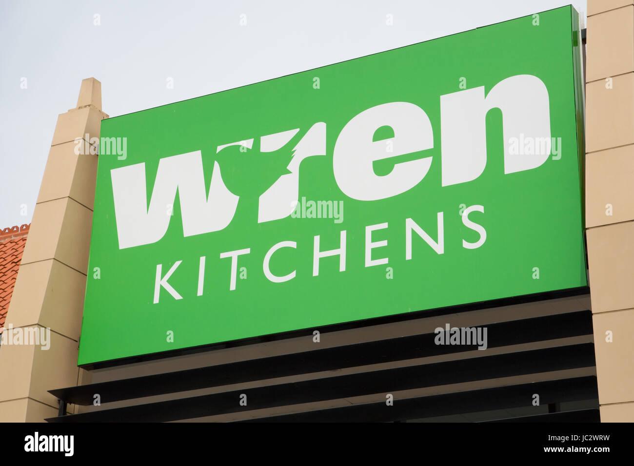 Wren Kitchens signage - Stock Image