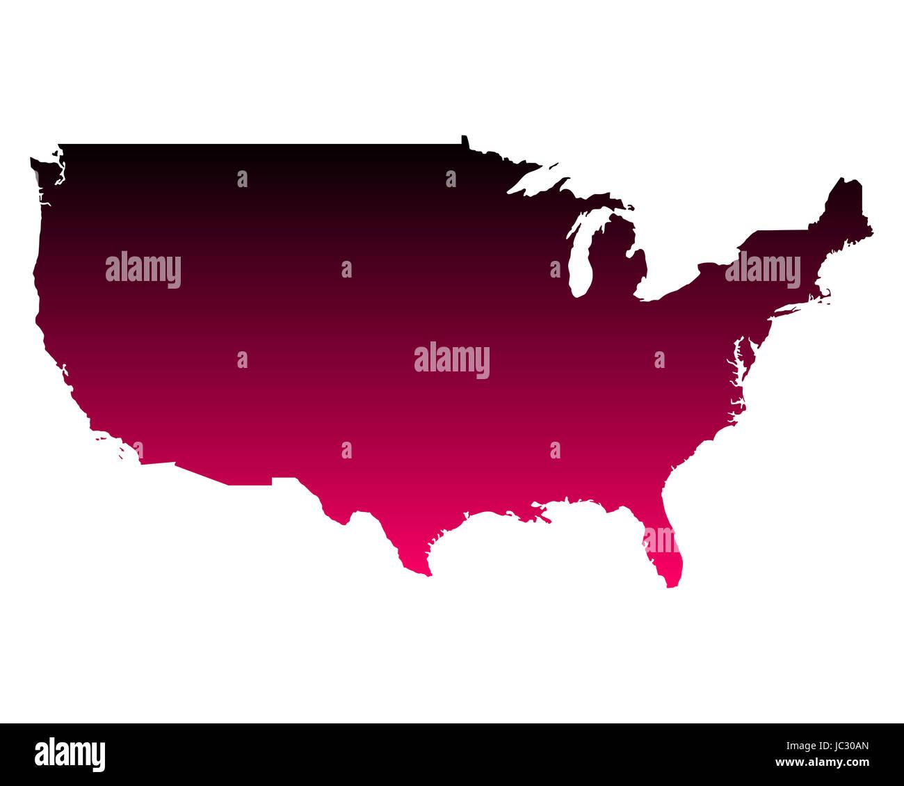 Karte der USA - Stock Image