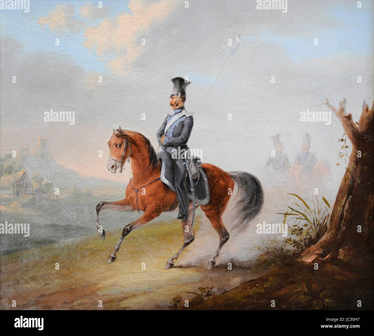 Wincenty Smokowski (1797-1876). Polish-Lithuanian painter. Mounted Ulan. Vilnius Picture Gallery. Lithuania. - Stock Image
