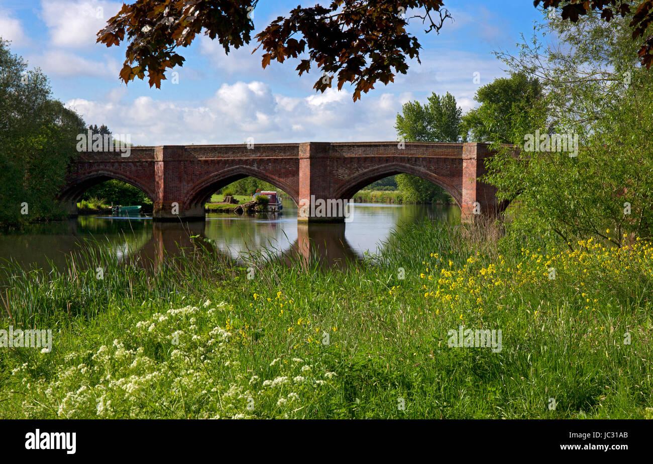 Bridge and river Thames at Clifton Hamden, Oxfordshire, England - Stock Image