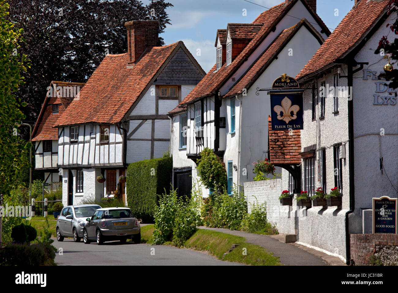 Village high street scene in East Hagbourne,Oxfordshire,England - Stock Image
