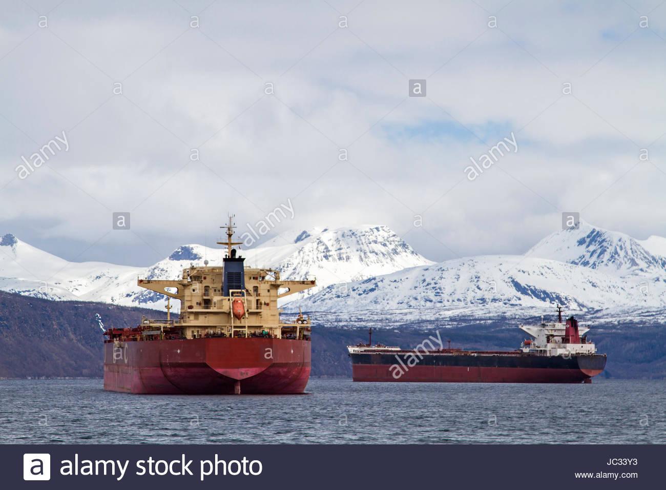 Die Frachter warten vor dem Hafen von Narvik auf ihre Ladung - Stock Image