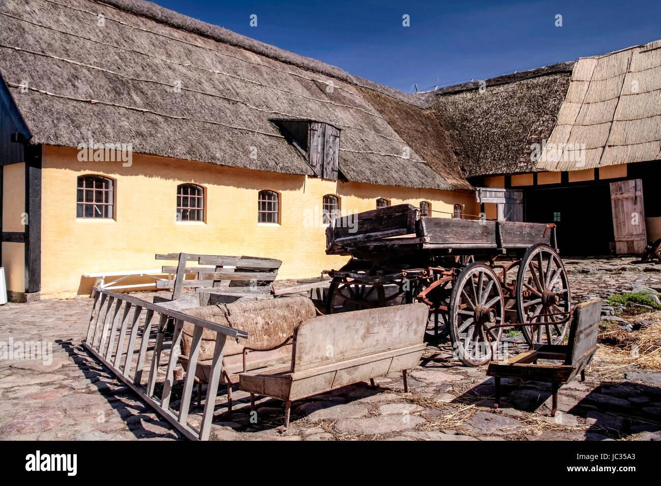 Alter Bauernhof beim kleinen Ort Melsted an der Küste Bornholms, Dänemark - Stock Image