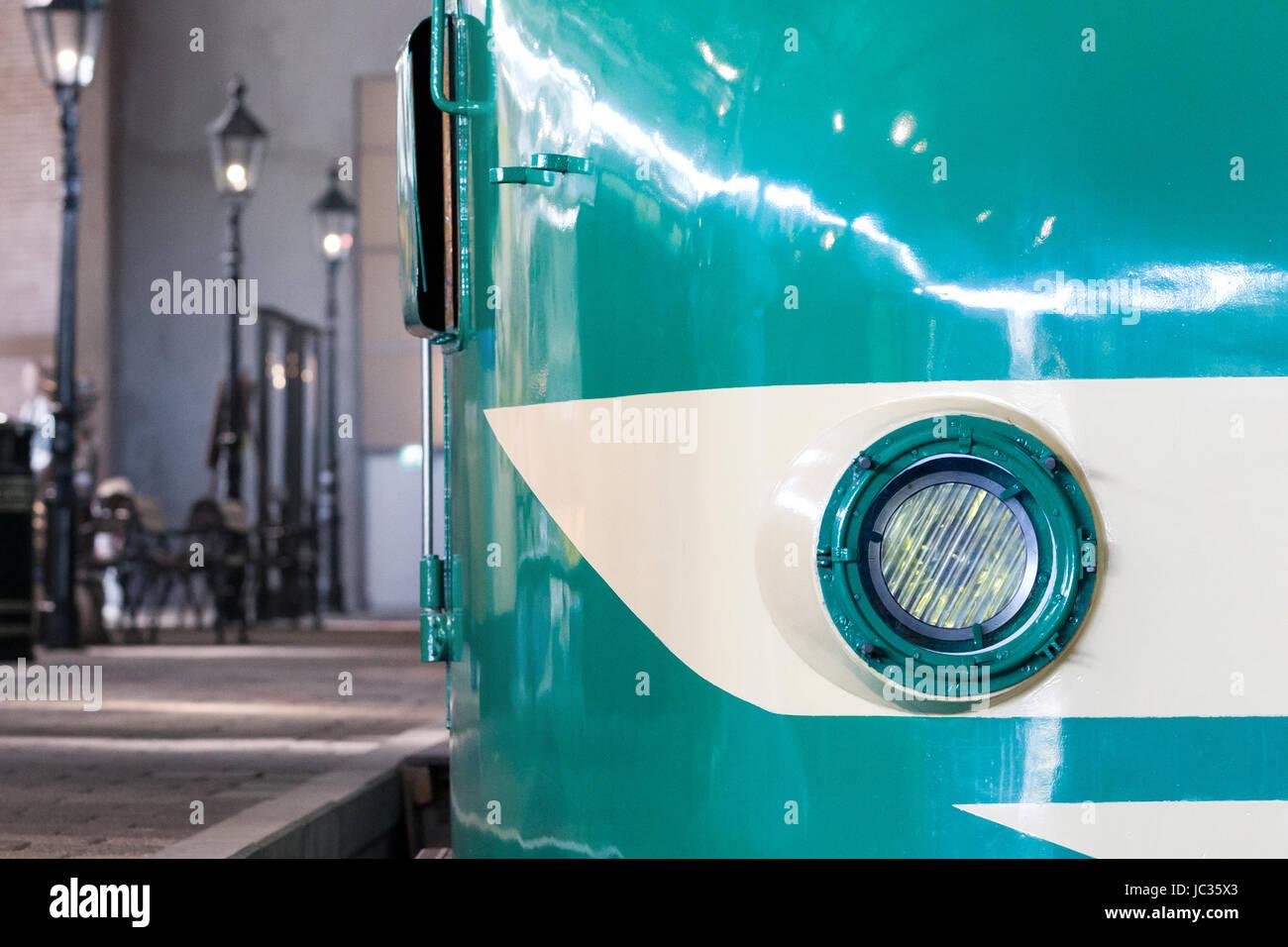 Closeup of a train headlight shining, vintage train Stock Photo