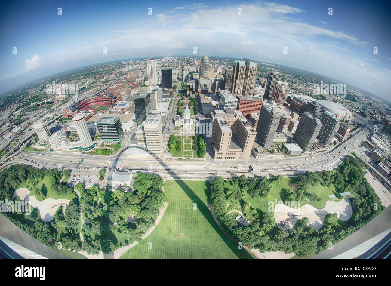 aerial of The Old Court House surrounded by downtown St. Louis - Stock Image
