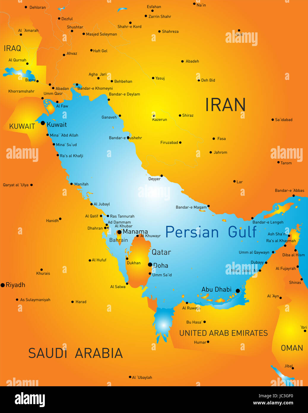 vector color map of persian gulf countries